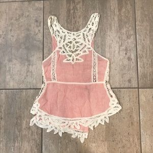 Pink and white pin stripe floral free people tank
